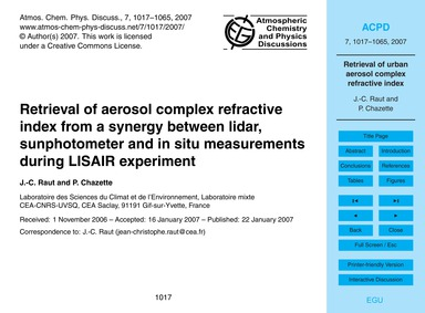 Retrieval of Aerosol Complex Refractive ... by Raut, J.-c.