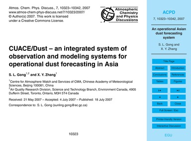 Cuace/Dust – an Integrated System of Obs... by Gong, S. L.