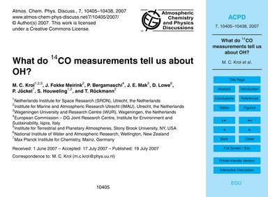What Do 14Co Measurements Tell US About ... by Krol, M. C.