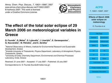 The Effect of the Total Solar Eclipse of... by Founda, D.