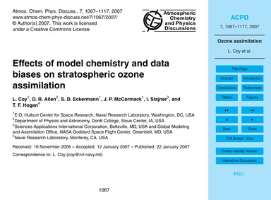 Effects of Model Chemistry and Data Bias... by Coy, L.