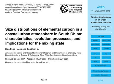 Size Distributions of Elemental Carbon i... by Huang, Xiao-feng