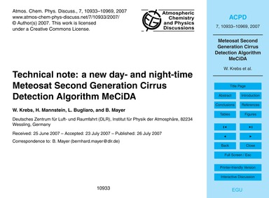 Technical Note: a New Day- and Night-tim... by Krebs, W.