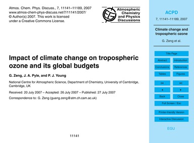 Impact of Climate Change on Tropospheric... by Zeng, G.