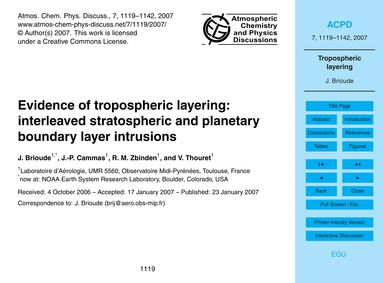 Evidence of Tropospheric Layering: Inter... by Brioude, J.