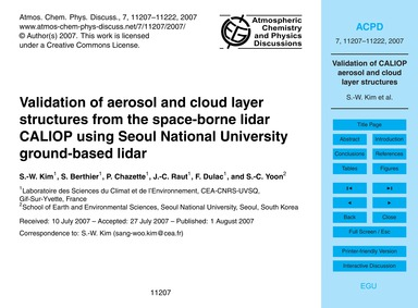Validation of Aerosol and Cloud Layer St... by Kim, S.-w.