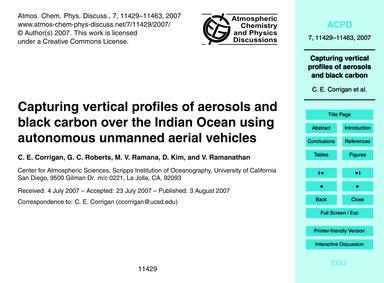 Capturing Vertical Profiles of Aerosols ... by Corrigan, C. E.