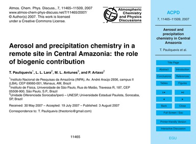 Aerosol and Precipitation Chemistry in a... by Pauliquevis, T.