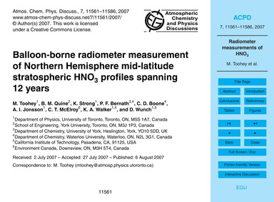 Balloon-borne Radiometer Measurement of ... by Toohey, M.