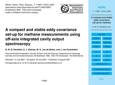 A Compact and Stable Eddy Covariance Set... by Hendriks, D. M. D.