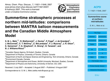 Summertime Stratospheric Processes at No... by Melo, S. M. L.