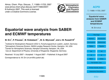 Equatorial Wave Analysis from Saber and ... by Ern, M.