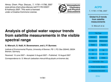 Analysis of Global Water Vapour Trends f... by Mieruch, S.