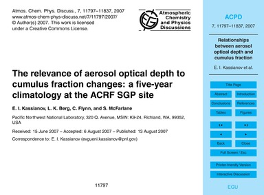 The Relevance of Aerosol Optical Depth t... by Kassianov, E. I.
