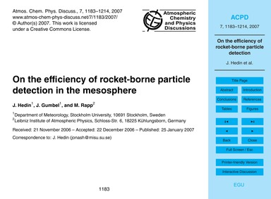 On the Efficiency of Rocket-borne Partic... by Hedin, J.
