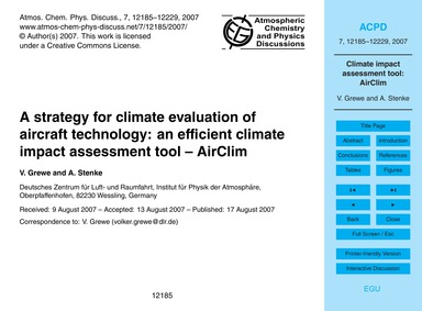 A Strategy for Climate Evaluation of Air... by Grewe, V.