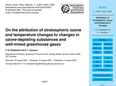 On the Attribution of Stratospheric Ozon... by Shepherd, T. G.