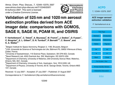 Validation of 525 Nm and 1020 Nm Aerosol... by Vanhellemont, F.