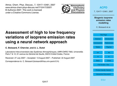 Assessment of High to Low Frequency Vari... by Boissard, C.