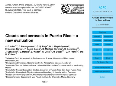 Clouds and Aerosols in Puerto Rico – a N... by Allan, J. D.