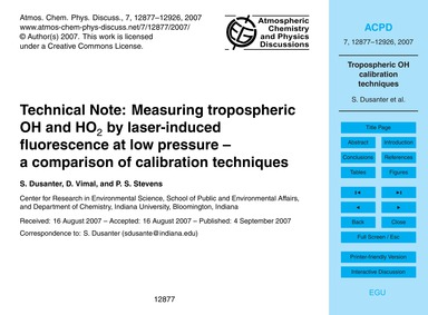Technical Note: Measuring Tropospheric O... by Dusanter, S.