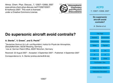 Do Supersonic Aircraft Avoid Contrails? ... by Stenke, A.