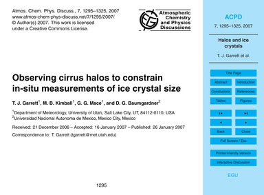 Observing Cirrus Halos to Constrain In-s... by Garrett, T. J.