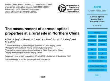 The Measurement of Aerosol Optical Prope... by Yan, P.