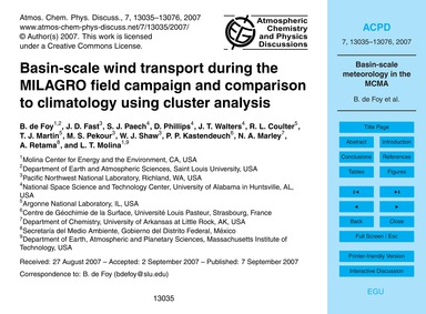 Basin-scale Wind Transport During the Mi... by De Foy, B.