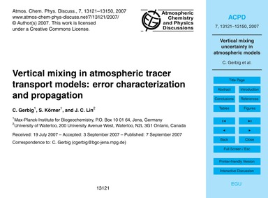 Vertical Mixing in Atmospheric Tracer Tr... by Gerbig, C.