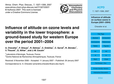 Influence of Altitude on Ozone Levels an... by Chevalier, A.