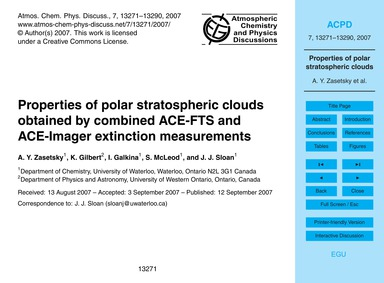 Properties of Polar Stratospheric Clouds... by Zasetsky, A. Y.