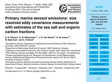 Primary Marine Aerosol Emissions: Size R... by Nilsson, E. D.