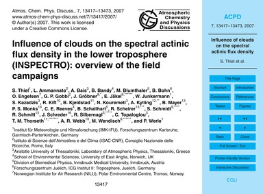Influence of Clouds on the Spectral Acti... by Thiel, S.