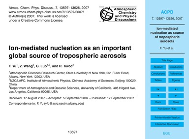Ion-mediated Nucleation as an Important ... by Yu, F.