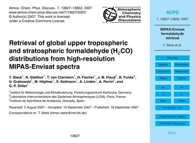 Retrieval of Global Upper Tropospheric a... by Steck, T.