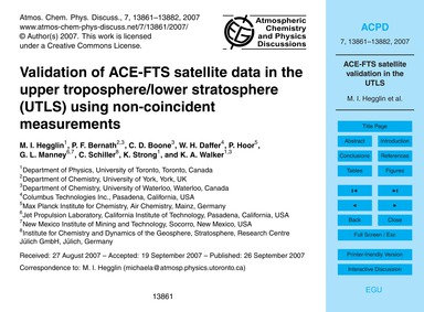 Validation of Ace-fts Satellite Data in ... by Hegglin, M. I.