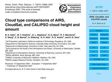 Cloud Type Comparisons of Airs, Cloudsat... by Kahn, B. H.
