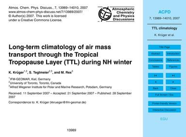 Long-term Climatology of Air Mass Transp... by Krüger, K.