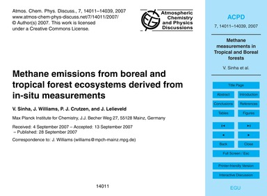 Methane Emissions from Boreal and Tropic... by Sinha, V.
