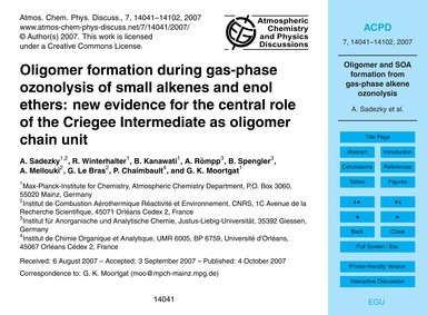 Oligomer Formation During Gas-phase Ozon... by Sadezky, A.