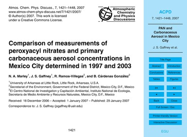 Comparison of Measurements of Peroxyacyl... by Marley, N. A.