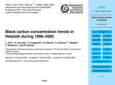 Black Carbon Concentration Trends in Hel... by Järvi, L.