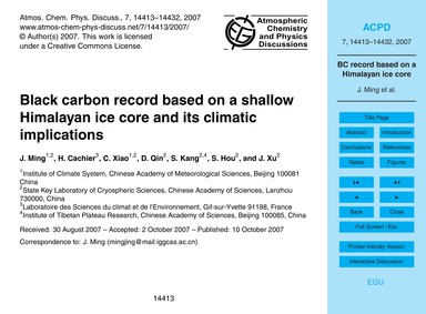 Black Carbon Record Based on a Shallow H... by Ming, J.