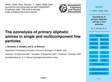 The Ozonolysis of Primary Aliphatic Amin... by Zahardis, J.