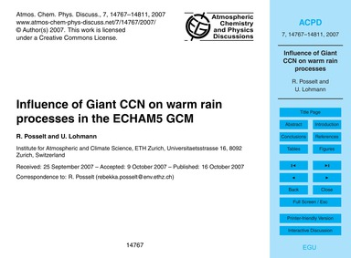 Influence of Giant Ccn on Warm Rain Proc... by Posselt, R.