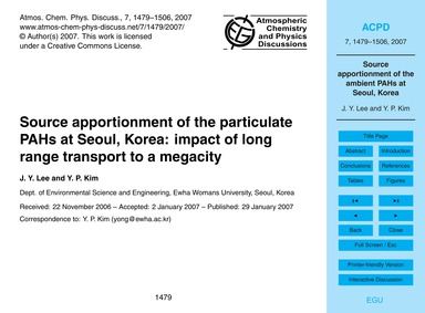 Source Apportionment of the Particulate ... by Lee, J. Y.