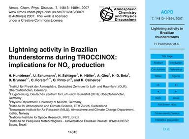 Lightning Activity in Brazilian Thunders... by Huntrieser, H.
