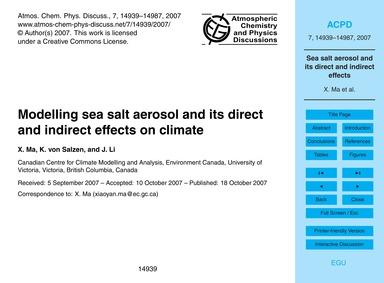 Modelling Sea Salt Aerosol and Its Direc... by Ma, X.