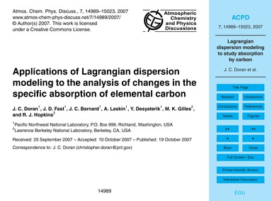 Applications of Lagrangian Dispersion Mo... by Doran, J. C.